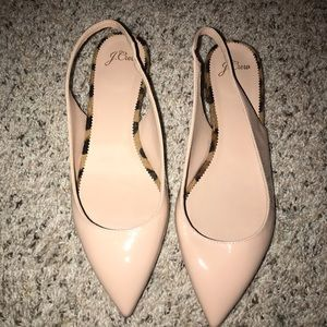 J.Crew Nude Shiny Flats with Fur Accent